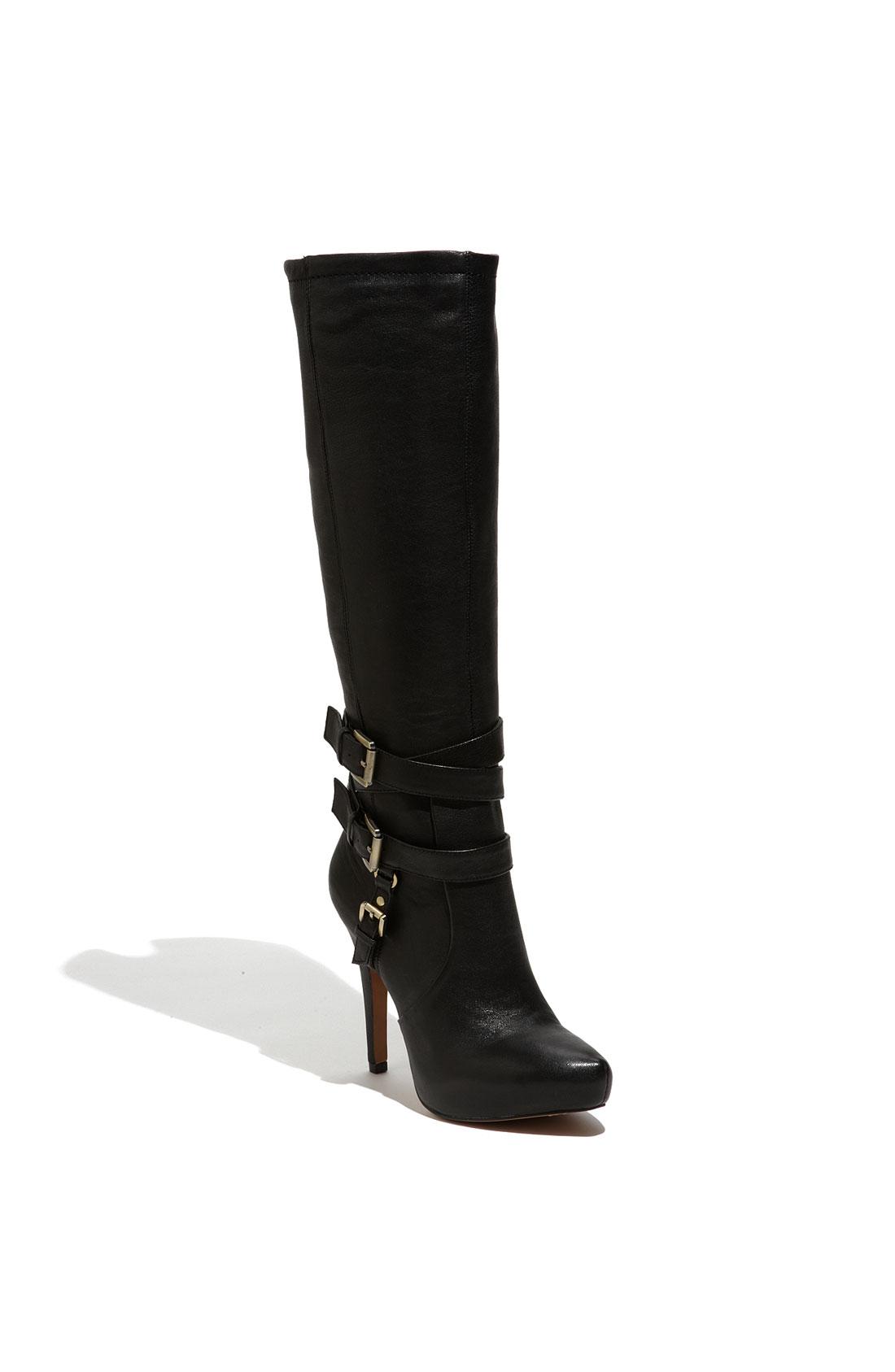 sam edelman roula knee buckle boot in black black leather