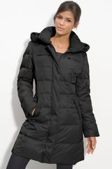 Gallery Quilted Coat with Faux Fur Trim - Lyst