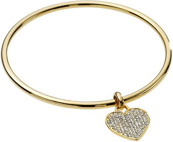Michael by Michael Kors Pave Heart Bangle, Golden - Lyst