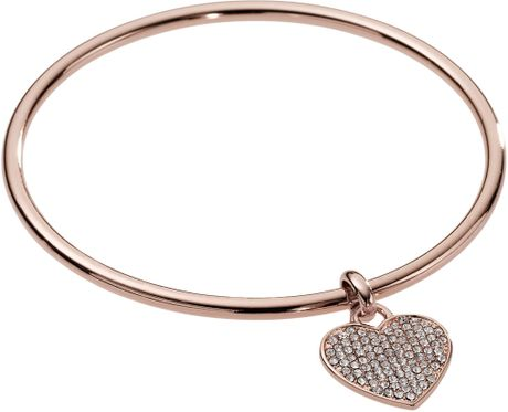 Michael By Michael Kors Heart Charm Bangle  in Gold (rose gold) - Lyst