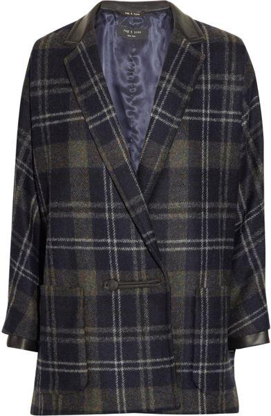 Rag Amp Bone Primrose Plaid Coat In Blue Navy Lyst