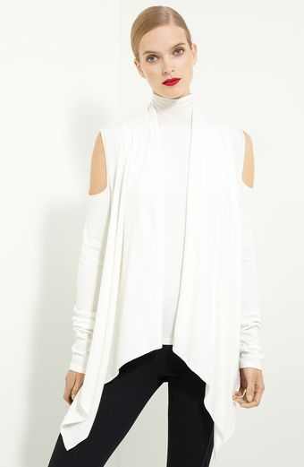 Donna Karan New York Cold-shoulder Draped Cardigan - Lyst