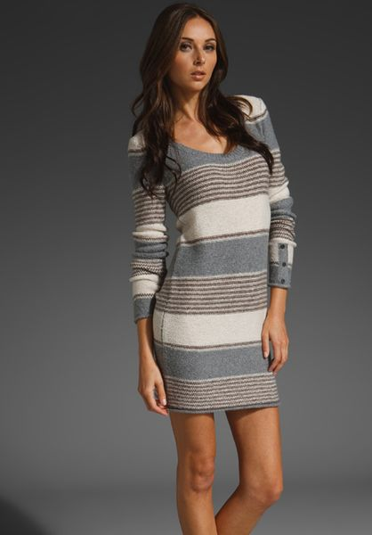 Splendid Patchwork Stripe Dress in Gray (brown)