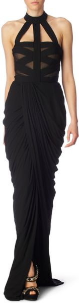 Alexander Mcqueen Halter Bandage Dress in Black - Lyst
