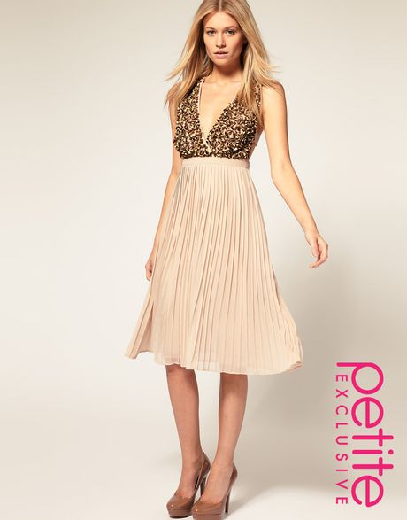 asos collection asos dress with pleated skirt