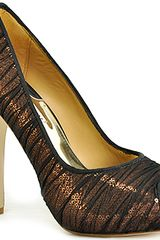Badgley Mischka Star Pump - Brown Mesh Covered Sequin Open Toe Pump - Lyst