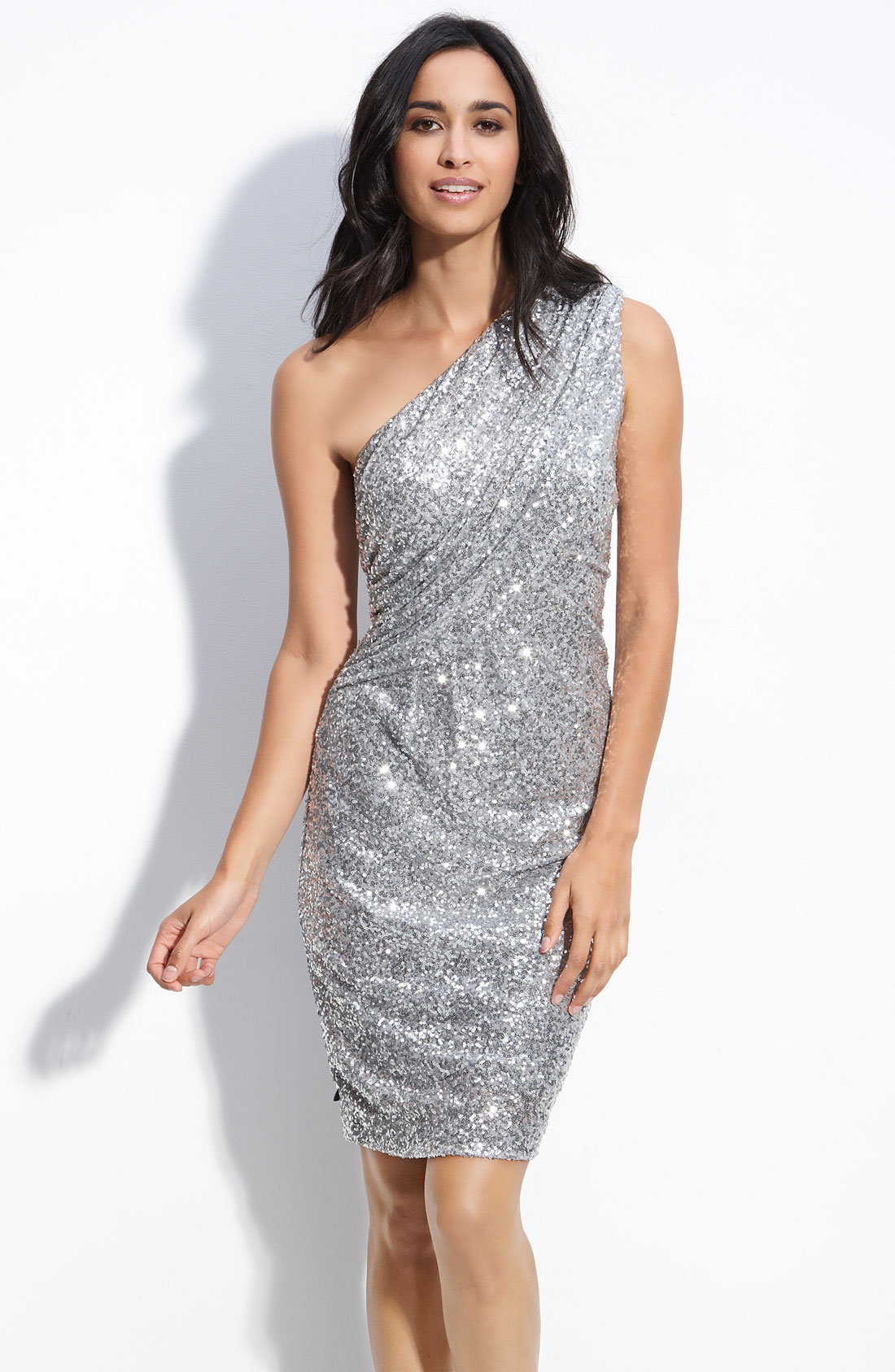 Calvin klein Sequin One Shoulder Dress in Metallic | Lyst