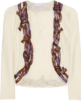 Carolina Herrera Embellished Wool-blend Cardigan - Lyst