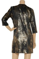 Clemens En August Metallic Silk Dress in Gold (black) - Lyst