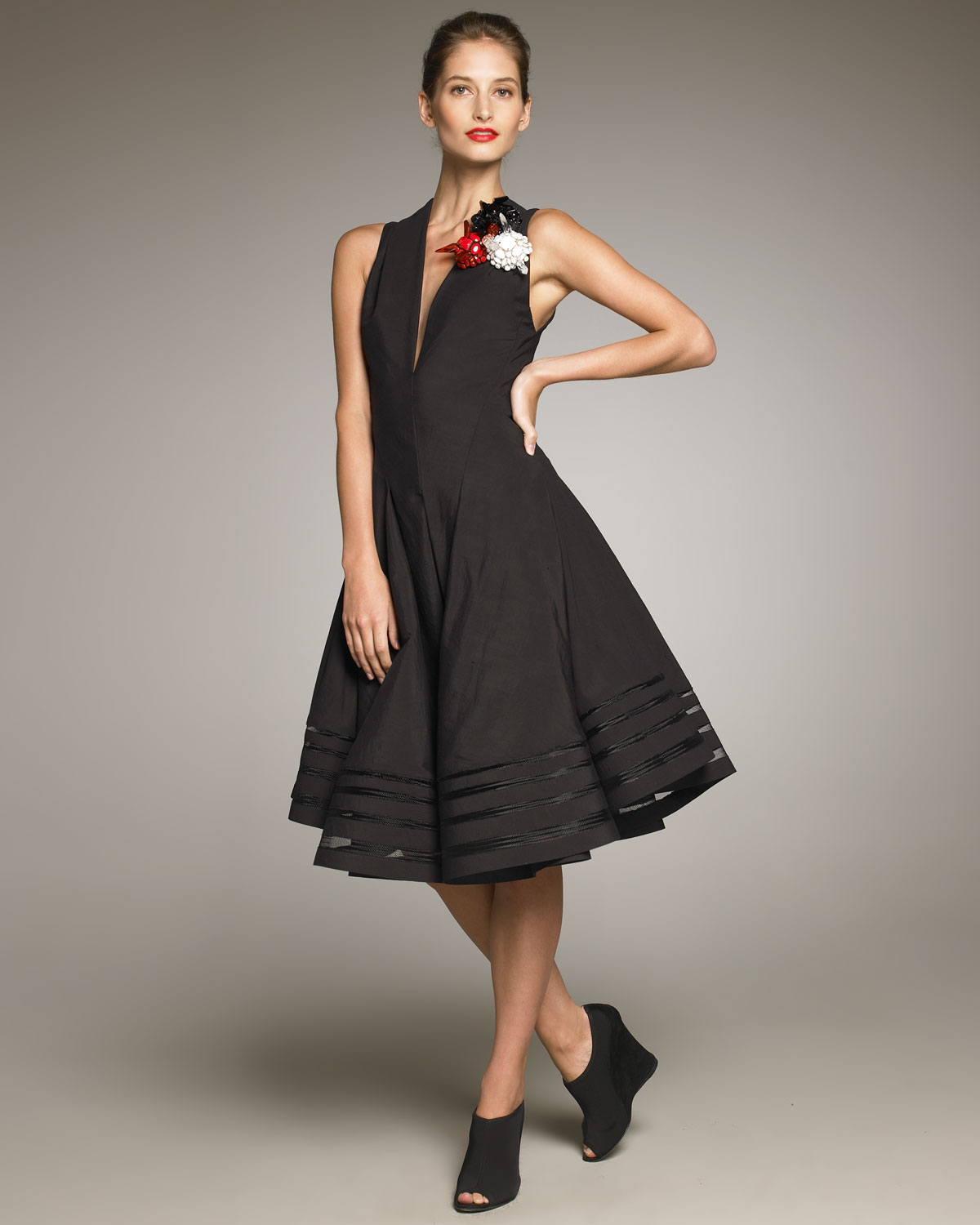 Donna karan new york swingy dress in black lyst for Donna karen new york