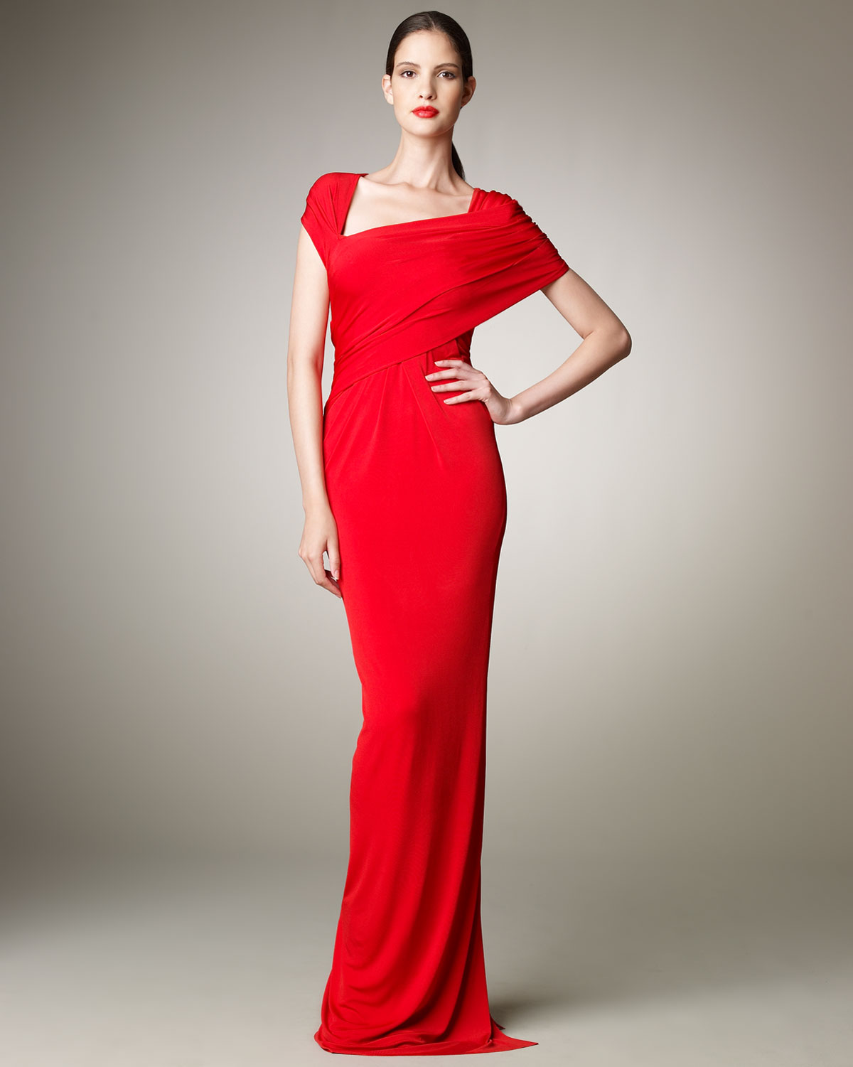 Lyst - Donna karan Wrapped Jersey Gown in Red