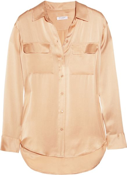 Equipment Signature Silksatin Shirt in Pink (nude) - Lyst