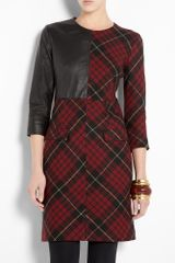 McQ by Alexander McQueen Tartan & Leather Insert Shift Dress