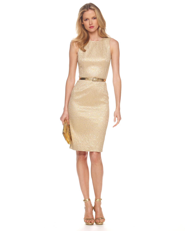 Michael kors Metallic Brocade Sheath Dress, Gold in Metallic | Lyst