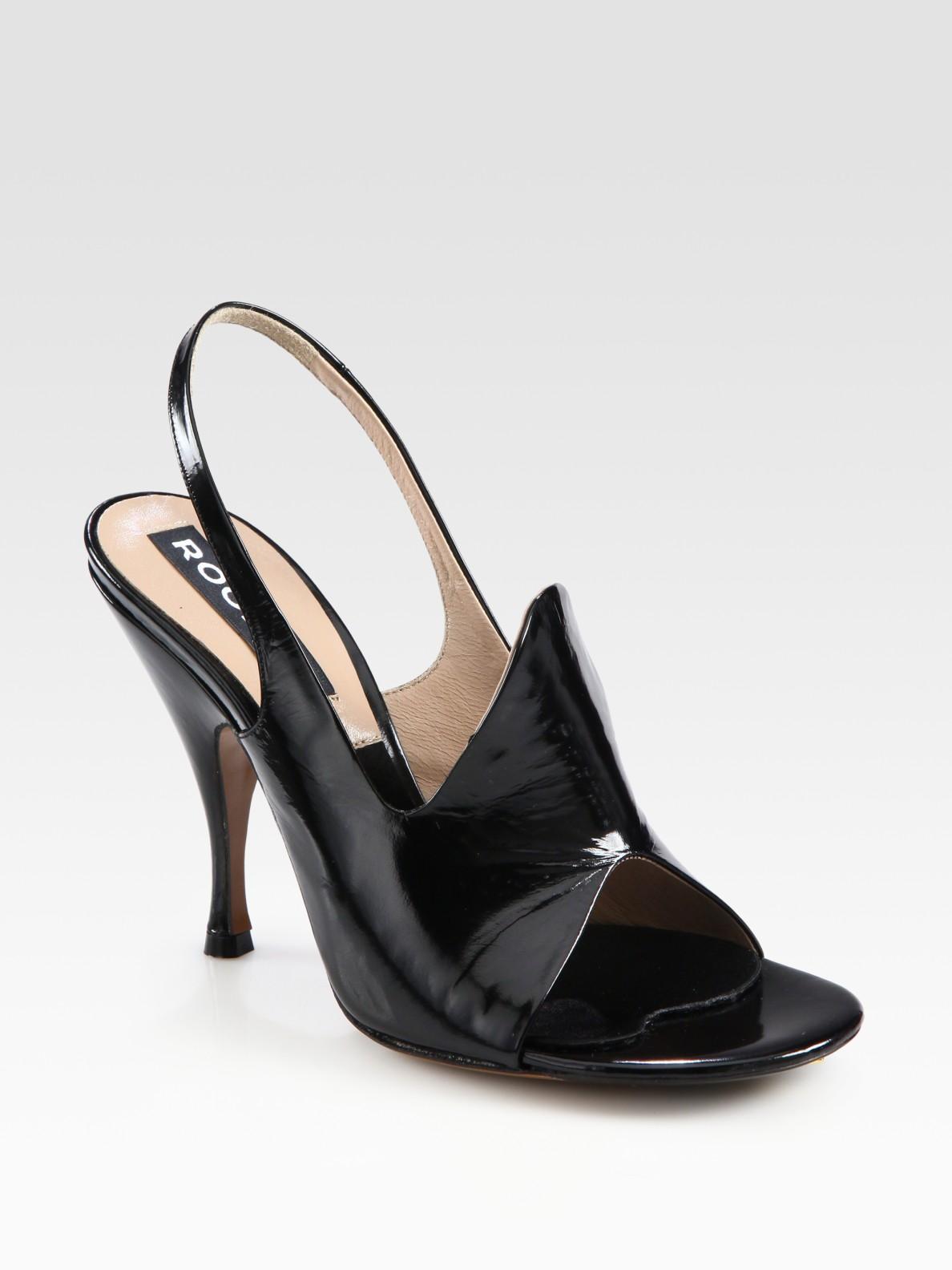 Black Sling Back Leather Shoes