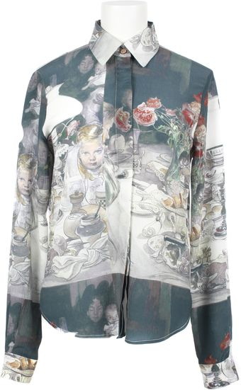 Rodarte x Opening Ceremony All Over Print Crepe Silk Shirt - Lyst