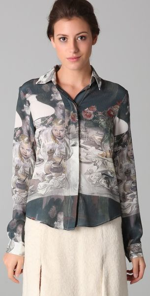 Rodarte x Opening Ceremony Print Button Down Blouse - Lyst