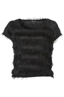 Topshop Fluffy Knit Crop Tee - Lyst