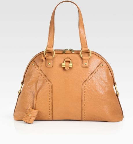 Saint Laurent Ysl Large Muse Handbag in Brown (almond)