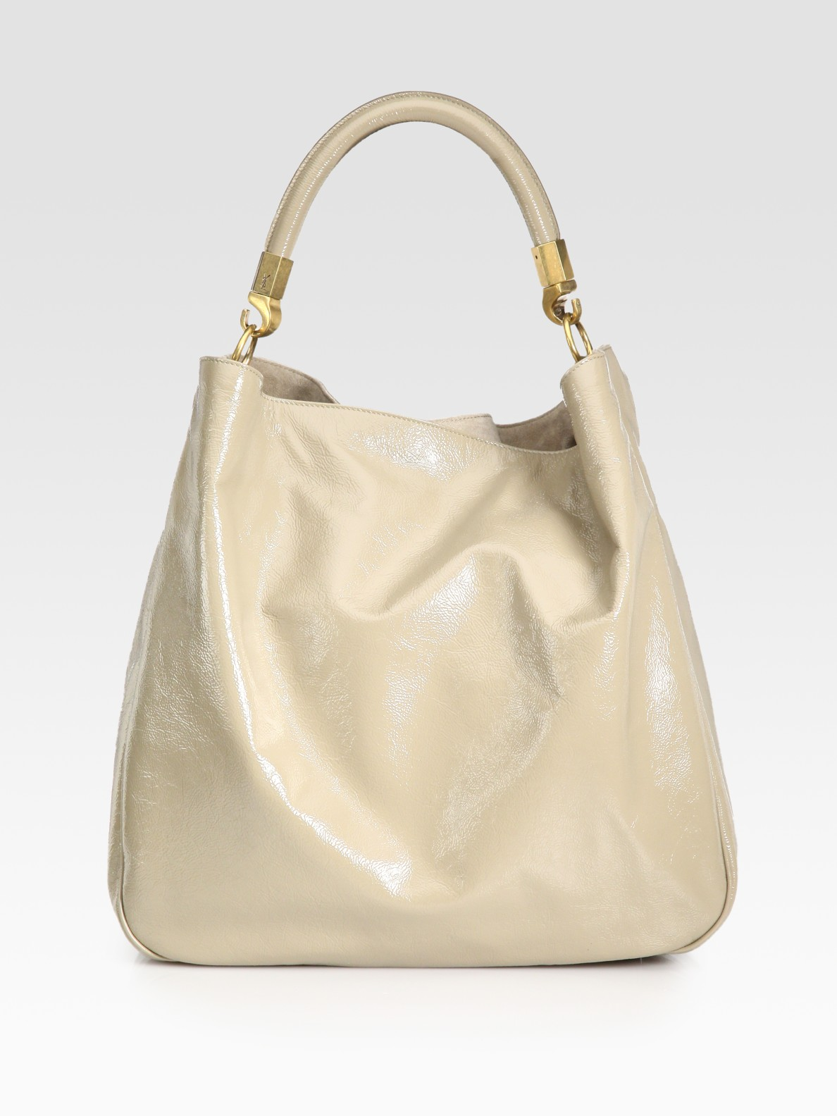 Saint laurent Ysl Large Patent Leather Roady Hobo in Beige ...