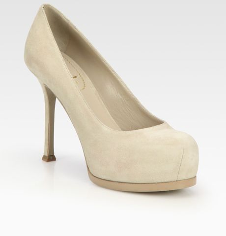 Yves Saint Laurent Ysl Trib Too Suede Platform Pumps in Beige (biancocrema) - Lyst