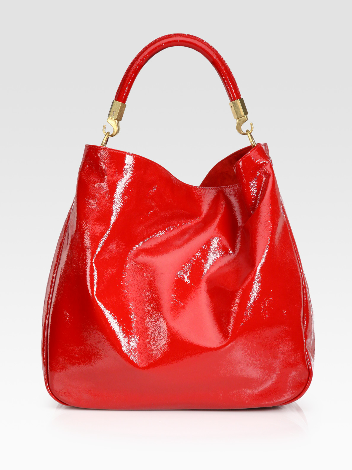 4d2ea0dbb7f Lyst - Saint Laurent Ysl Large Patent Leather Roady Hobo in Red