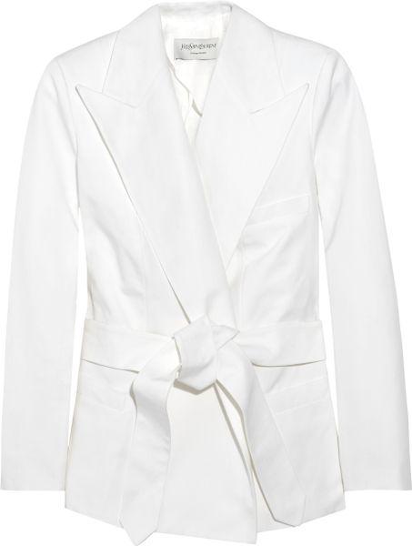 Saint Laurent Belted Cotton Canvas Jacket In White Lyst