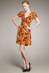 Yves Saint Laurent Poppy-Print Dress - Lyst