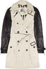Burberry Leather-sleeved Cotton-gabardine Trench Coat - Lyst
