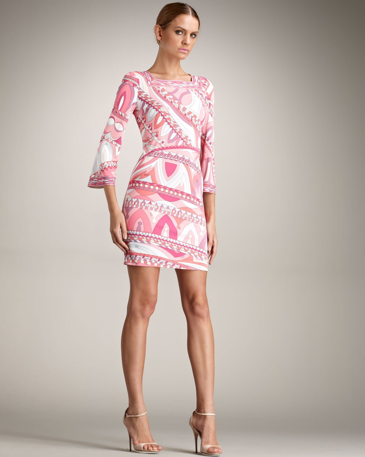 Emilio Pucci Square Neck Dress in Pink