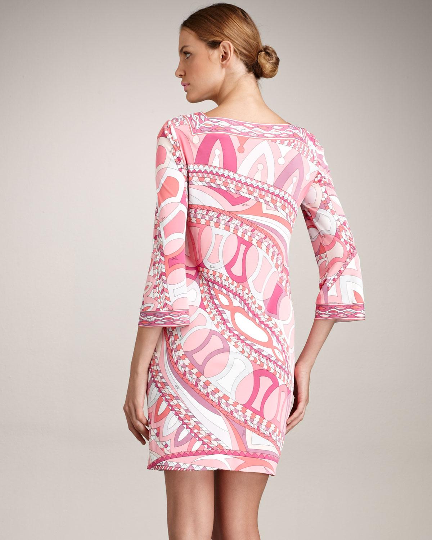 Lyst - Emilio Pucci Square Neck Dress in Pink 47c872ba4