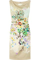 Etro Floral-print Stretch-silk Dress - Lyst