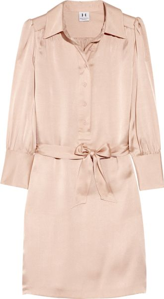 Halston Heritage Belted Silksatin Shirt Dress in Pink - Lyst
