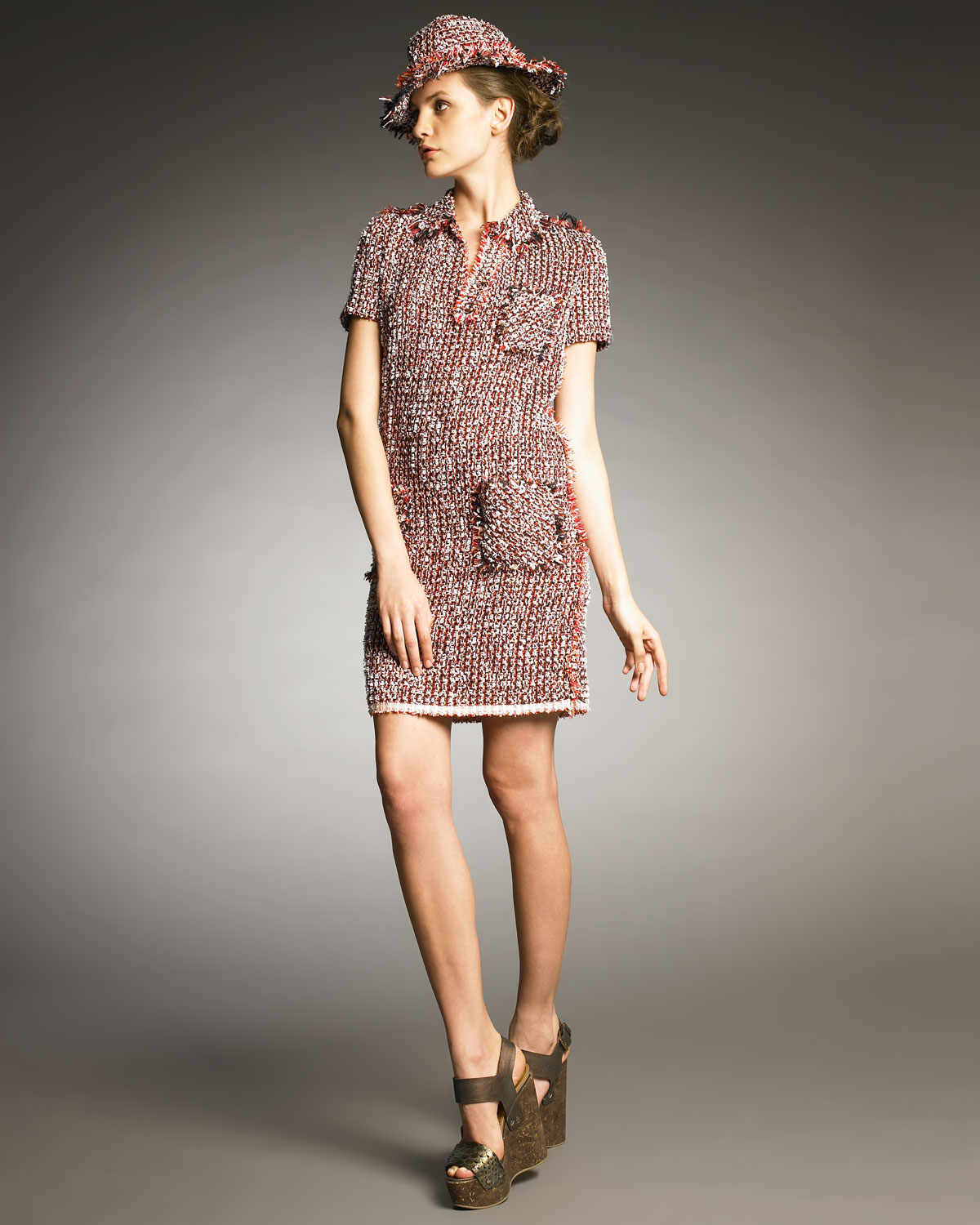 Lanvin Tweed Dress in Red