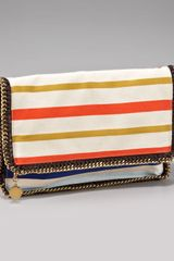 Stella McCartney Striped Falabella Clutch - Lyst