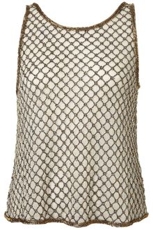 Topshop Beaded Grid Mesh Crop Vest - Lyst