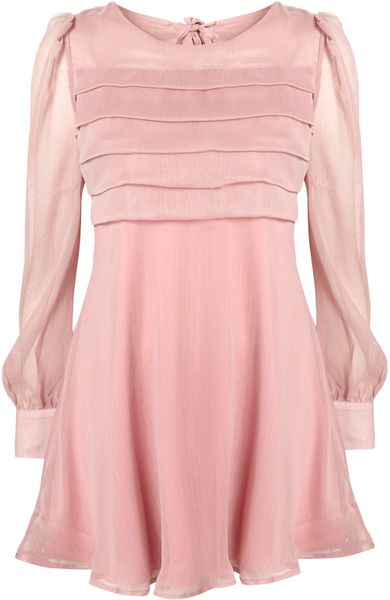 Topshop Tier Front Chiffon Dress By Rare In Pink Pale