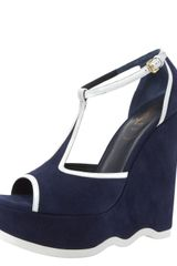 Yves Saint Laurent Two-tone Wavy-wedge T-strap - Lyst