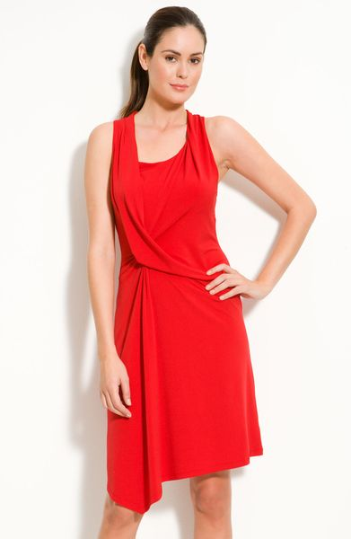 Michael By Michael Kors Drape Front Jersey Dress in Red (red blaze) - Lyst