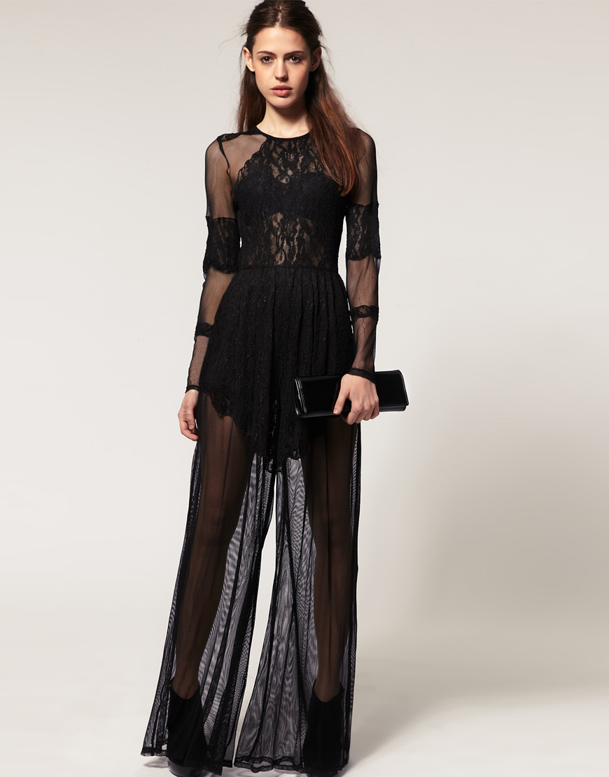 202824f1d2ff Lyst - ASOS Collection Asos Premium Lace and Mesh Jumpsuit in Black