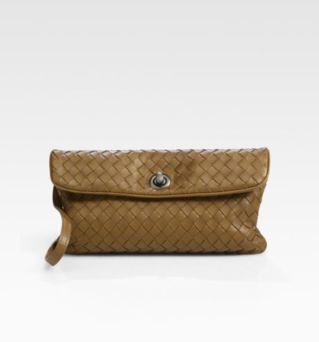 Bottega Veneta Small Woven Leather Messenger Bag in Brown (chene) - Lyst