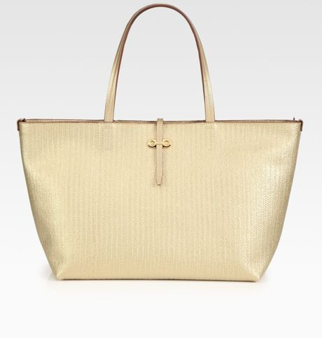 Ferragamo Metallic Leather Tote Bag in Gold - Lyst