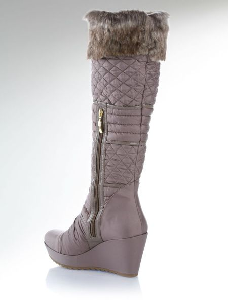guess pozita wedge boots in gray dove grey lyst