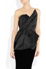 Marchesa Pleated Satin Bustier in Black - Lyst