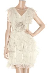 Notte By Marchesa Ruffled Silkcrepe Dress in White - Lyst