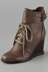 See By Chloé Lace Up Wedge Booties - Lyst