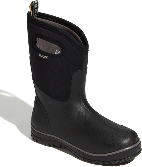 Bogs 39 classic ultra 39 mid high rain boot in black for men for Bogs classic mid le jardin
