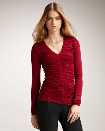 Burberry Ruched V-neck Sweater, Crimson - Lyst