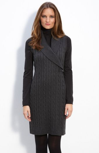 Calvin Klein Sleeveless Faux Wrap Sweater Dress - Lyst