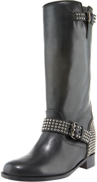 Christian Louboutin Studded Motorcycle Boot in Black - Lyst